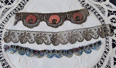 Antique Lace Lot Metallic Embroidered Tulle Net Remnant Trim Pieces Dolls