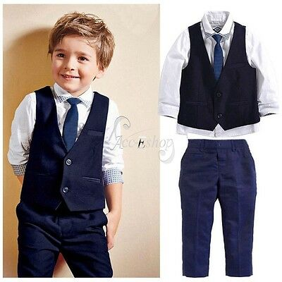 Baby Boys Suits 4 Piece Waistcoat Suit Wedding Page Formal Birthday Party 2-7Ys