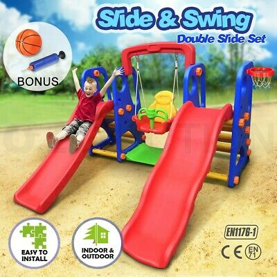 Kids Dual Slide and Swing Basketball Activity Center Toddler Set Outdoor Play