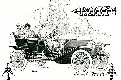 Rare 1910 PARRY Model 42 Full Pg CAR AD. David Parry Owned OVERLAND befor WILLYS
