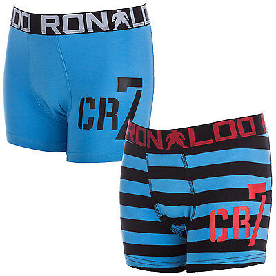 Boys CR7 Infant Boys 2 Pack Boxer Shorts in Blue - 4-6 From Get The Label