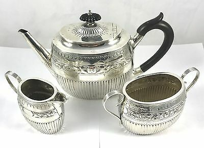 Solid English Silver Tea Set William Hutton & Sons 1887 654g