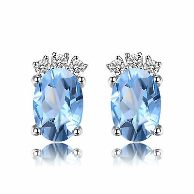 JewelryPalace Birthstone 1.2ct Genuine Sky Blue Topaz Stud Earrings 925 Silver