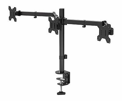 "Triple Arm Desk Mount LCD LED Computer Monitor Bracket Stand 13""-24"" Screen TV"