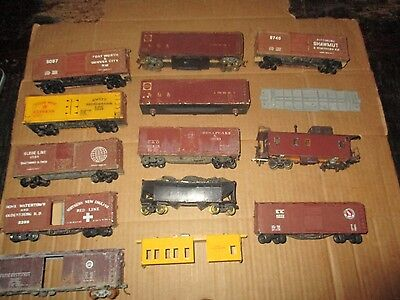 Box Lot Of Vintage Wood And Metal Kits And Freight Cars All Incomplete For Parts