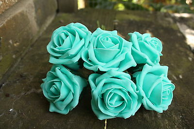 6 x TIFFANY TURQUOISE BLUE COLOURFAST FOAM OPEN COTTAGE  ROSES 6cm
