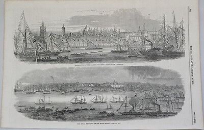HER MAJESTY'S SHIPS AT LIVERPOOL - ORIGINAL 19th CENTURY MARINE ENGRAVING c.1851