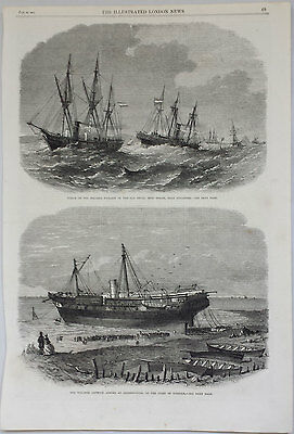 WRECK OF THE STEAMER 'HYDASPE' SINGAPORE - 19th CENTURY NAUTICAL ENGRAVING c1865