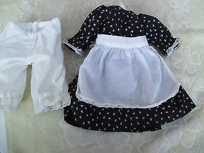 Alte Puppenkleidung Black Apron Dress Outfit vintage Doll clothes 30 cm Girl