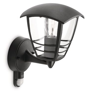 Philips MyGarden Creek Outside Security Black Wall Light with PIR Motion Sensor