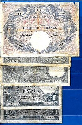 BANQUE DE FRANCE - Rare Early French Banknotes 1914 - 17 - Choose Your Banknote
