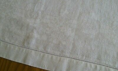 "LARGE VINTAGE 24""x42"" IVORY LINEN DAMASK TOWEL ~ PANSIES PANSY ~ HEMSTITCH EDGES"