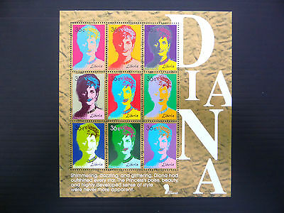 "LIBERIA Wholesale Diana ""Andy Warhol"" Sheetlet of 9 Stamps x 100 U/M FP1148"