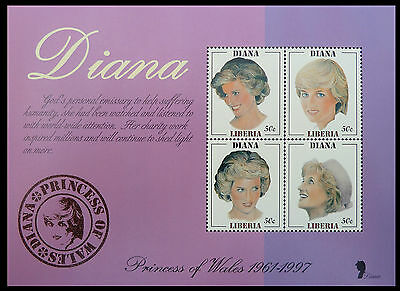 LIBERIA Wholesale Princess Diana Memoriam Min/Shts Growing Up x 100 CD 593