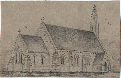 ST. PAUL'S CATHEDRAL ST. HELENA ISLAND - ORIGINAL 19th CENTURY PENCIL DRAWING