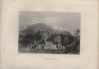 THE HILL OF SAMARIA - BEAUTIFUL ORIGINAL 19th CENTURY ENGRAVING c.1800s