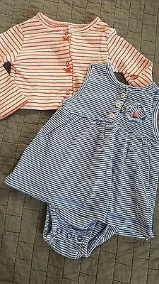 Carters 6 month baby girls blue and white striped romper bodysuit dress 2pc