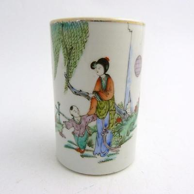 Chinese Famille Rose Porcelain Cyliindrical Brush Pot, Republic Period