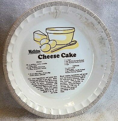 Vintage WATKINS Products Promo Cheese Cake Royal Pie Plate 1981