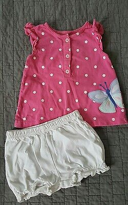 Carter's Girls baby 2 pc outfit pink butterfly size 12 months