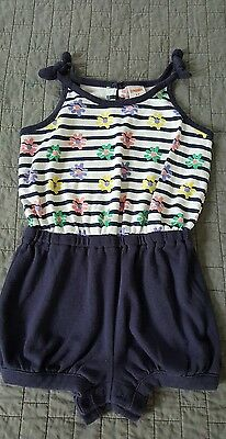 GYMBOREE blue White Striped Sleeveless Summer toddler girl Romper Flowers Sz 2t