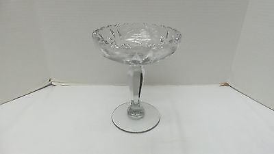 Gorgeous Vintage/Antique Cut Glass Tall Compote BIRD BUTTERFLY FLOWERS