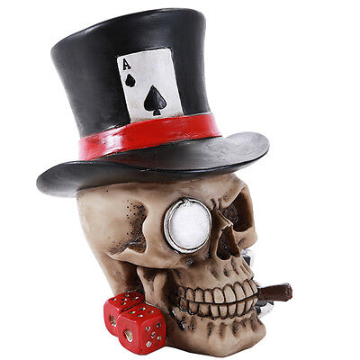 Poker Face Skull With Hat  Figurine Statue  Halloween