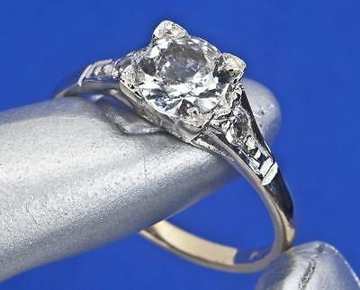 A VINTAGE SOLID 9ct GOLD CREATED DIAMOND SOLITAIRE ENGAGEMENT RING SIZE L/M (6)