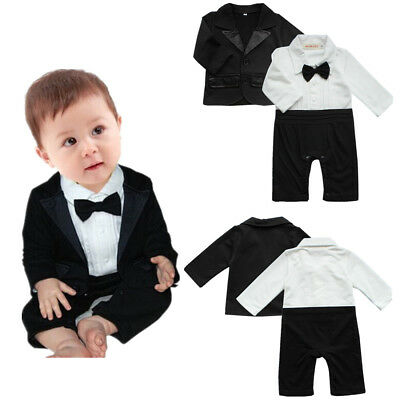 Baby Boys Gentleman Outfit Bow Tie Waistcoat Tuxedo Bodysuit Christening Wedding