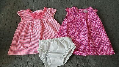 Carters baby girls Pink Tops/Dress Outfits w/white Bloomers 6M