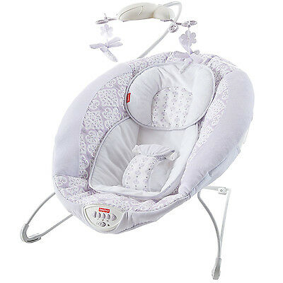 Fisher Price Fairytale Newborn Deluxe Bouncer with Baby Mobile, Lavender DPW08