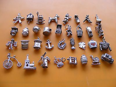 P Vintage Sterling Silver Charm Clog Poodle Car Bagpipes Taxi Clock Clown