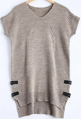 Textured Asymmetric Knitted Long Sweater ~ USA size 1X or so