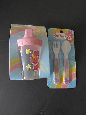 Care Bear Baby Purple Fork &Spoon and Pink Sippy Cup