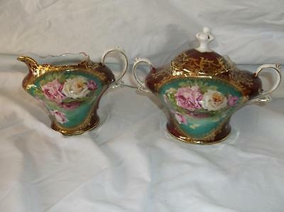 Heinrich Company H&C China Sugar bowl & Creamer. Red Floral Decorated Gold