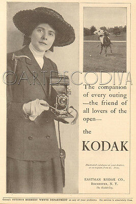 Antique 1910's KODAK CAMERA Polo Horse Match EDWARDIAN Equestrian Hat Lady AD