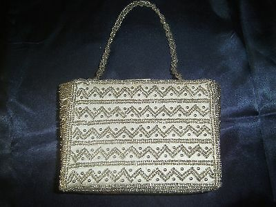Silver Clutch Purse Valerie Stevens Silver Beads On White Fabric