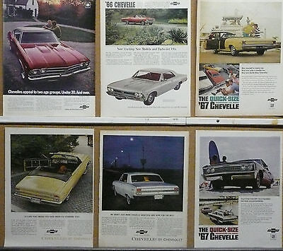 1964,1965,1966,1967,1969 Chevrolet Chevelle SS Ad Lot (10); Muscle cars