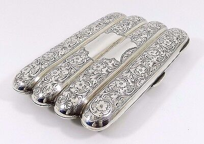 Antique English Edwardian solid Silver Cigar Case, (Hayes & Co, 1908, 162g)