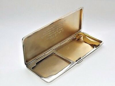 Rare Art Deco Solid Silver Sterling Combination Cigarette & Vesta Case Bham 1934