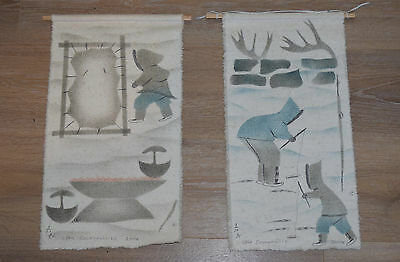 x2 Handmade Canadian Inuit Canvas Art wall pieces feat. sealskin fishing Canada
