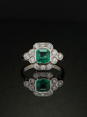 Art Deco Natural Emerald And Diamond Halo Ring