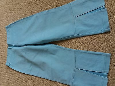 Girls Marks & Spencer Cropped Blue Trousers Age 7 Years