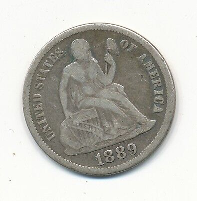 1889 S Seated Liberty Silver Dime