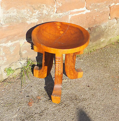 Hand Carved ETHNOGRAPHIC Milking STOOL VINTAGE African TRIBAL Oak ART Decorative