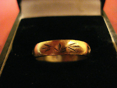 Medieval Decorated Bronze Ring With Writing Inside Band--Detector Find