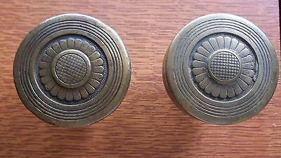 "Antique Fancy Cast Brass Doorknobs Door Knobs ""Sunflower"" 1875 by Peters"