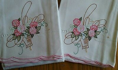 2 Beautiful Unused Vintage Pillowcases ~ Embroidered ~ Lovely Flower Baskets