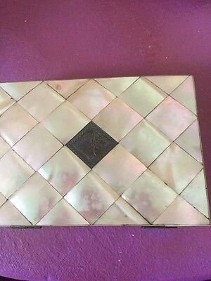 Lovely Mother Of Pearl Card Case With Silver Insert
