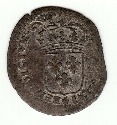 French Colonial, Very Rare 1699 E recoined billon sol with lis c/m